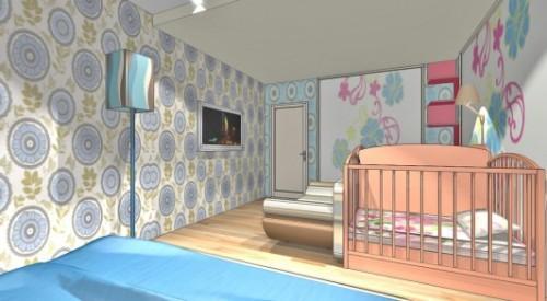 Спальня и детская в одной комнате. Фото 4