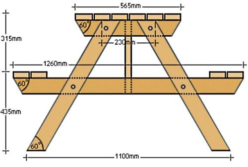 Чертеж дачного столика с размерами