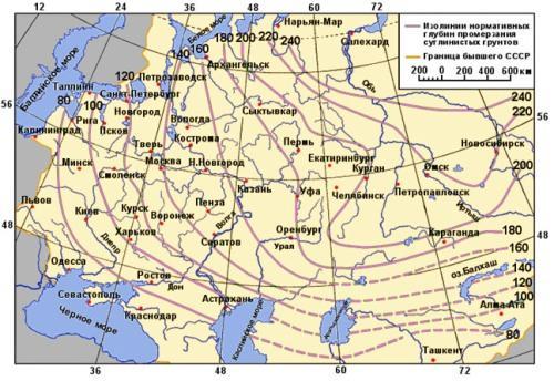 Карта уровня промерзания грунта