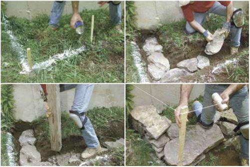 Этапы строительства каменной клумбы