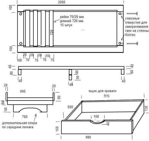 Кровать с выдвижными ящиками своими руками чертеж