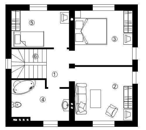 Планировка комнат на втором этаже