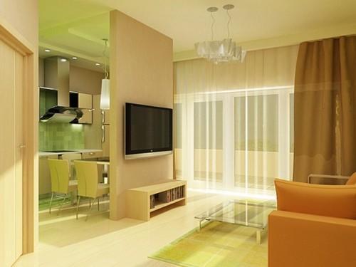 Теплый интерьер однокомнатной квартиры