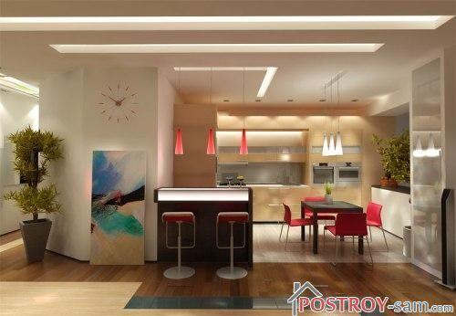 Кухня в однокомнатной квартире студии
