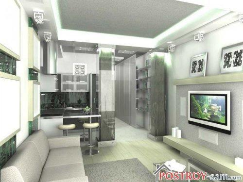 Дизайн однокомнатной квартиры в серых тонах