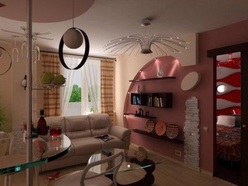 Дизайн интерьера однокомнатной квартиры без стен