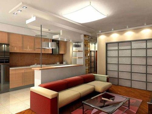 Дизайн совмещенной кухни и гостинной
