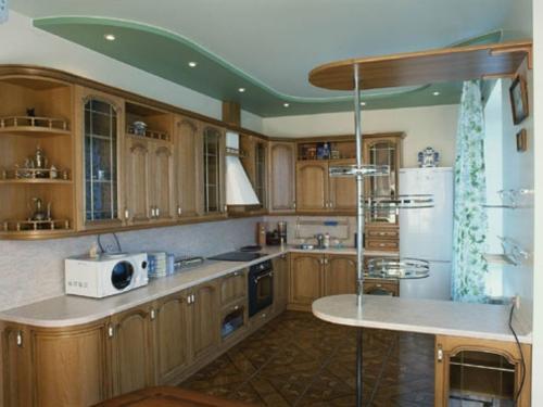 матовый потолок со вставкой из зеленого гипсокартона
