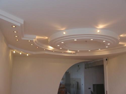 Дизайн потолков из гипсокартона. Фото примеры гипсокартонных конструкций