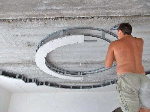 Как правильно сделать кольцо из гипсокартона на потолке?