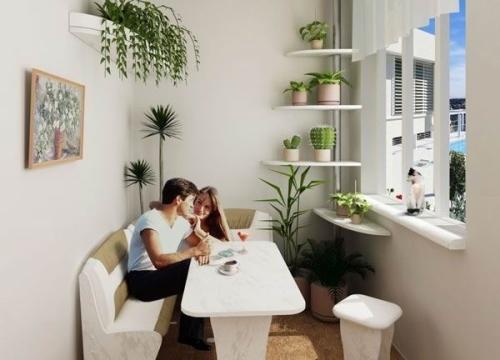 балкон со столиком и угловым диваном