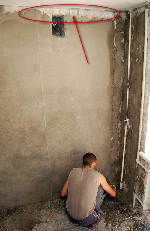 Участки стен под потолком