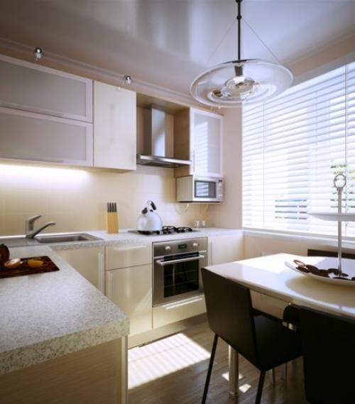Цвет интерьера и освещение маленькой кухни