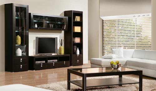 Темная мебель для светлой гостиной