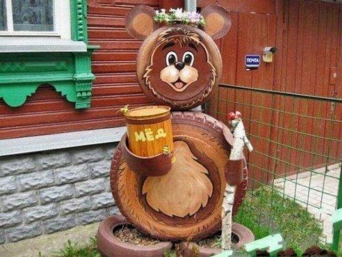 Мишка из покрышек