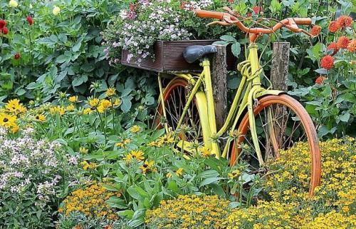 Цветник из велосипеда
