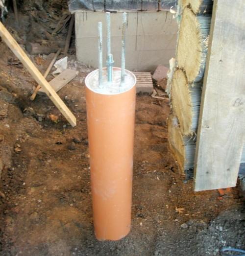 Фундамент из труб ПВХ под веранду своими руками