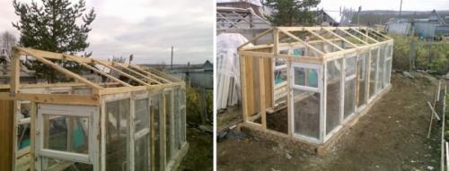 Строим крышу теплицы
