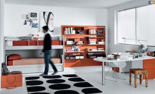 Оранжевый цвет в интерьере подростковой комнаты