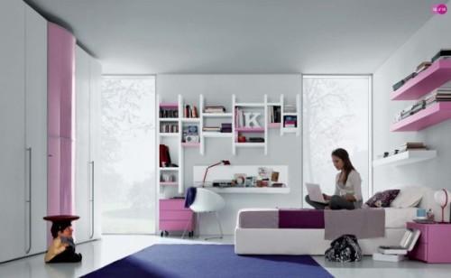 Розовые цвета в комнате подростка