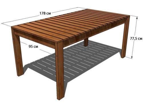 Деревянный стол из досок