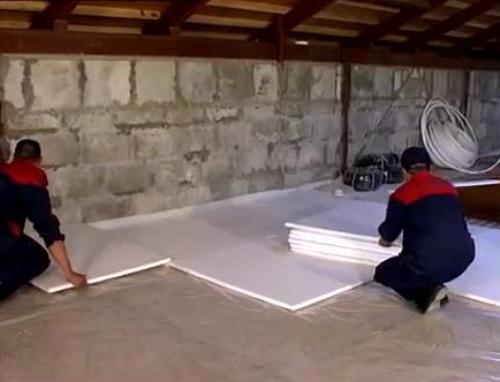 Устройство теплоизоляции водяного теплого пола