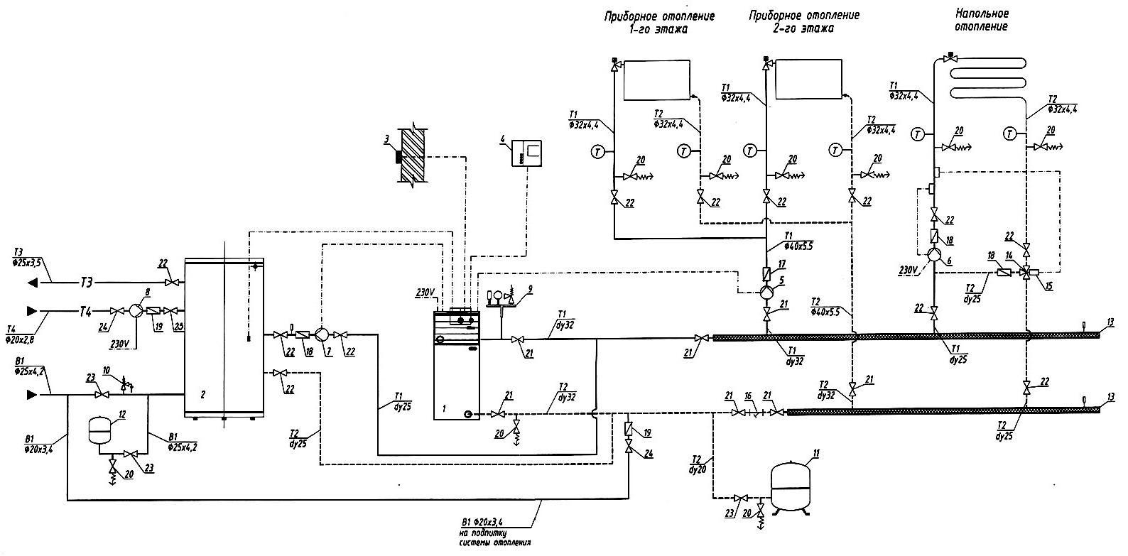 Схема отопления двухэтажного дома