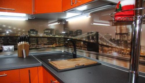 Фартук для кухни с фото моста