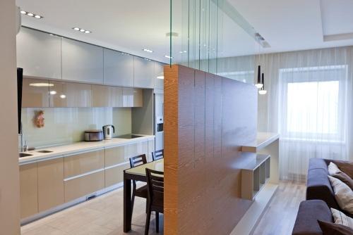 Прекрасное решение оформления кухни-студии