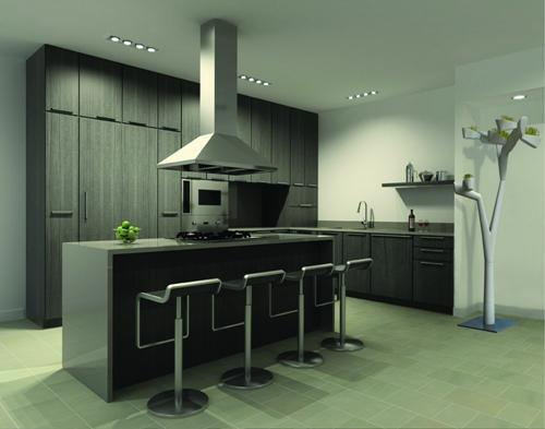 Кухня-студия в стиле хай-тек