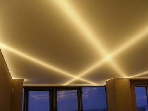 Монтаж светодиодной ленты за натяжным потолком