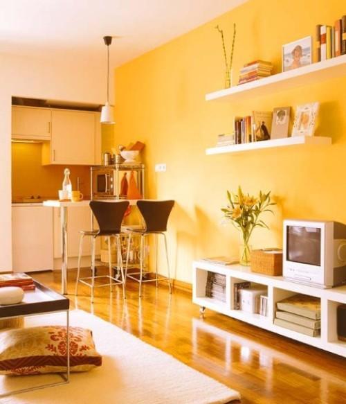 Квартира 30 кв. м в желтом цвете