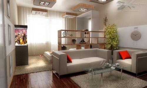 Спальня и гостиная в одной комнате. Фото