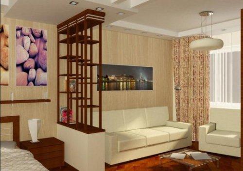 Светлый интерьер гостиной со спальной