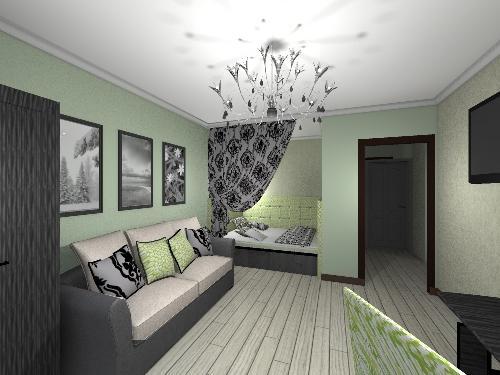 Спальня спрятана в гостиной