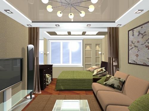 Выделенная спальная зона в гостиной