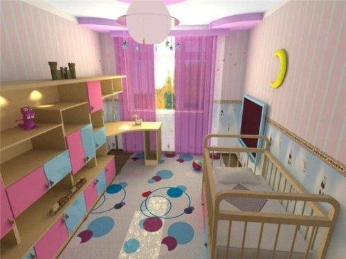 Интерьер узкой комнаты для ребенка