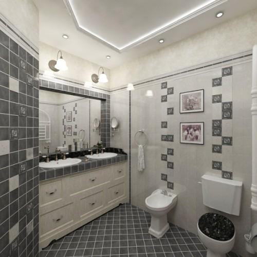 Черно-белый интерьер туалета. Фото