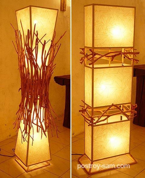 Светильники декорированные ветками