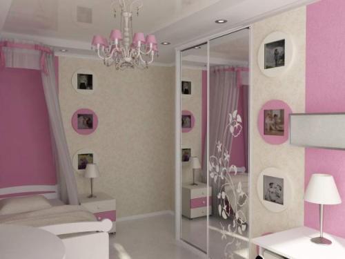 Розовый дизайн детской 12 кв.м