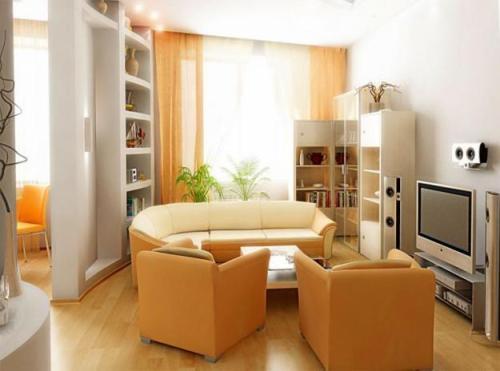 Естественный свет в гостиной 18 кв.м