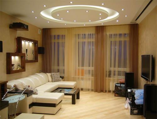 Искусственный свет в гостиной 18 м2
