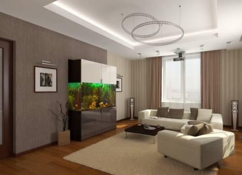 Дизайн гостиной 20 кв.м. Меблирование, освещение, стилистика