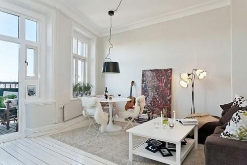 Дизайн интерьера двухкомнатной квартиры 45 кв.м. Пример оформления квартиры в скандинавском стиле