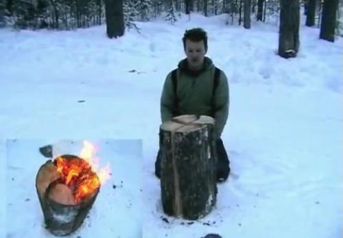 Костер-свеча с одного чурбака распиленного на 4 части