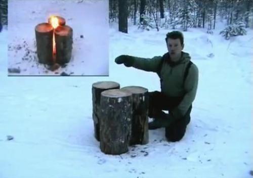Костер-свеча с трех чурбанов