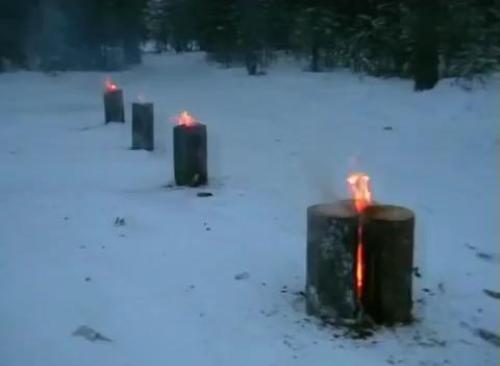 Костер-свеча. Четыре варианта финских или таежных костров-свечей
