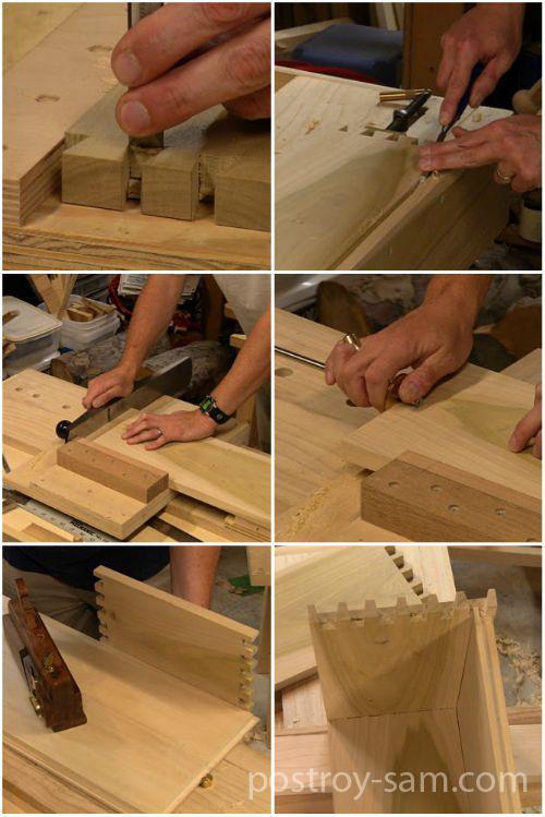 Соединение стенок ящика методом ласточкин хвост