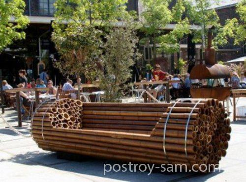 Необычные дачные деревянные скамейки