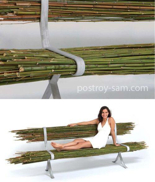 Скамейка из бамбуковых палочек или веток